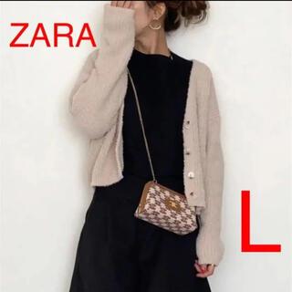 ザラ(ZARA)のZARA   フェイクファーニットカーディガン ベージュ L(カーディガン)