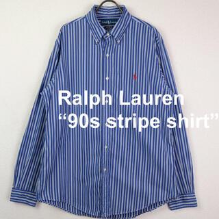 Ralph Lauren - 90s USA古着 ラルフローレン ストライプ BDシャツ 青×白×紺 L