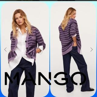 マンゴ(MANGO)のMANGO デザインニットカーディガン M(カーディガン)
