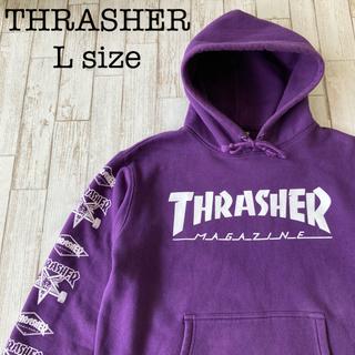 スラッシャー(THRASHER)のスラッシャー スウェットパーカー 袖プリント 裏起毛 スケーター  古着(パーカー)