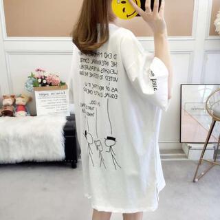 半袖 ビッグT ミドル丈 レディース スプリットTシャツ 韓国風 白 L