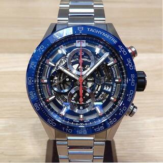 新品同様 タグホイヤー カレラ ホイヤー01 スケルトン 腕時計 メンズ 青