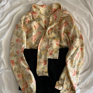vintage flower ribbon blouse