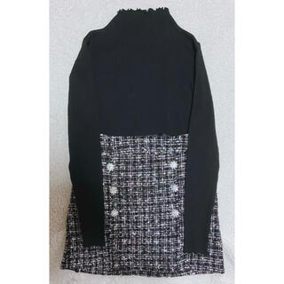 Sneep Dip - ツイード スカート ミニ ブラウス フリル ニット 黒 長袖 セット ブラウス