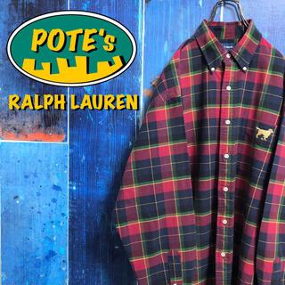 Ralph Lauren - 【ラルフローレン】ドッグ柄ワンポイント刺繍ロゴポケットチェックシャツ 90s