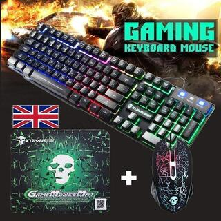 ゲーミング キーボード PS4対応 マウス セット 防水 LEDライト 発光