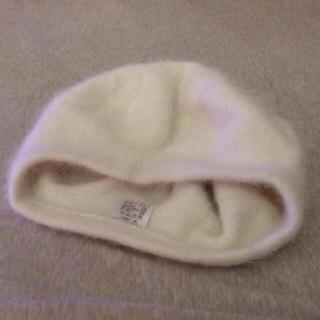 白 アンゴラファーベレー帽 ホワイト(ハンチング/ベレー帽)
