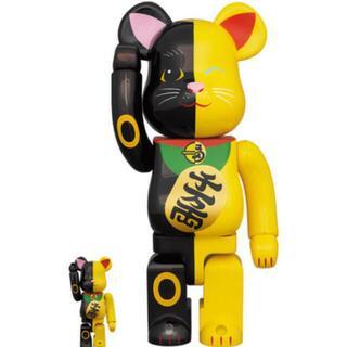 MEDICOM TOY - BE@RBRICK 招き猫 黒×黄 100% & 400%