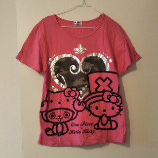 サンリオ(サンリオ)のハローキティ&ワンピースコラボTシャツ(Tシャツ(半袖/袖なし))