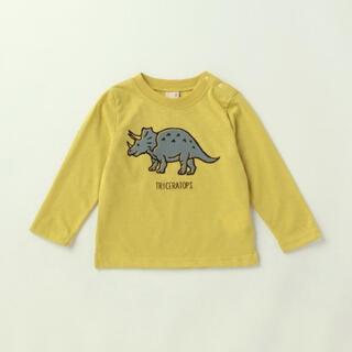 petit main - 恐竜フロッキープリント長袖Tシャツ
