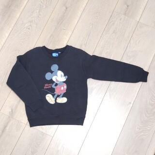 ミッキーマウス(ミッキーマウス)のディズニー ミッキーマウス キッズ 男の子 トレーナー 裏起毛  黒 120㎝(Tシャツ/カットソー)