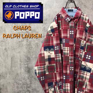 Ralph Lauren - チャップスラルフローレン☆スノー柄チェック柄デザインパッチワークシャツ 90s