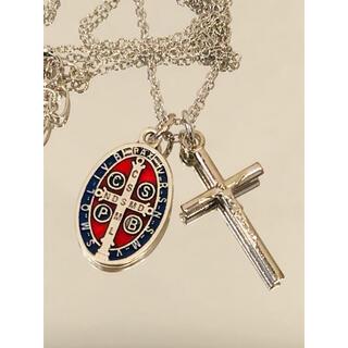 聖ベネディクト十字架メダル ネックレス ●カラーメダル シルバー十字架(ネックレス)