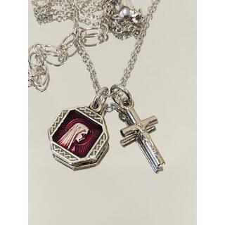 奇跡のメダイユ メダイネックレス ●ルルドの聖母マリア ●十字架シルバーカラー(ネックレス)