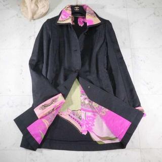 レオナール(LEONARD)のレオナール シルク 表面、中綿入りコート、襟、袖裏 美麗ピンクフラワー9R(ダウンジャケット)
