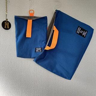 再販☆セルリアンブルー×蛍光オレンジ レッスンバッグ 上履き入れ(バッグ/レッスンバッグ)