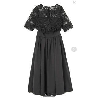ラグナムーン(LagunaMoon)のラグナムーン LADYオーバーレースギャザードレス(ミディアムドレス)