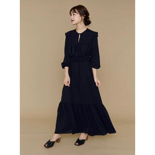Noble - Design Pin tuck Tiered Dress ネイビー L'Or