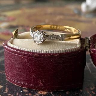イギリス アンティーク アールデコ 天然ダイヤモンド プラチナリング 18金