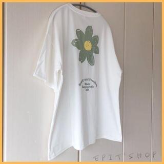 【新品】レディース トップス バックプリントTシャツ フラワー XLサイズ 白色