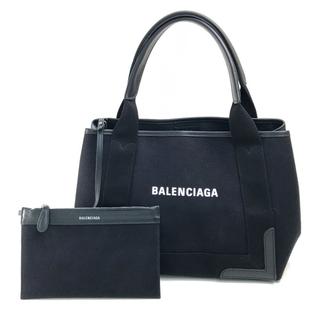 Balenciaga - バレンシアガ ロゴ ネイビーカバ S ポーチ付き トートバッグ ブラック