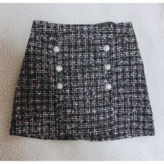 ツイード スカート ミニ ビジュー パール ボタン 黒 ブラック ピンク 韓国