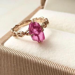ラフカット大粒ルビーK18ピンクゴールドリング 指輪♡BIZOUX ビズー