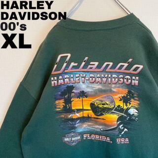 ハーレーダビッドソン(Harley Davidson)の00s ハーレーダビッドソン スウェット 両面プリント グリーン緑 XL古着(スウェット)