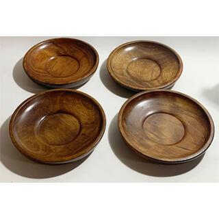 木製コースター 4枚セット 茶道具 煎茶 漆器 茶托 煎茶道具 ウッド
