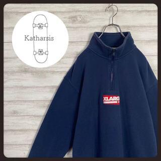 XLARGE - 【即完売モデル】エクストララージ 刺繍センターロゴ ハーフジップ スウェット