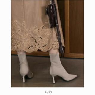 RANDA - RANDA ランダ 大人気のソックスブーツ 美脚効果抜群! アイボリー