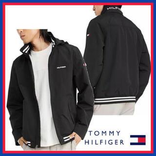 トミーヒルフィガー(TOMMY HILFIGER)の日本未入荷★トミーヒルフィガー ロゴバック フード ジャケット US/Sサイズ(ナイロンジャケット)