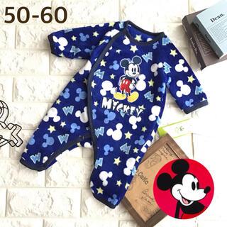 ミッキーマウス(ミッキーマウス)の☸️ 【50-60】ミッキー フリース カバーオール 総柄 青(カバーオール)