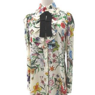 Gucci - グッチ 美品 17SS フラワー シャツ シルク ワンピース リボン 正規 40
