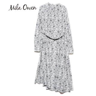 Mila Owen - ミラオーウェン アシメヘムスタンドカラーワンピース ミックス グレー 長袖ワンピ
