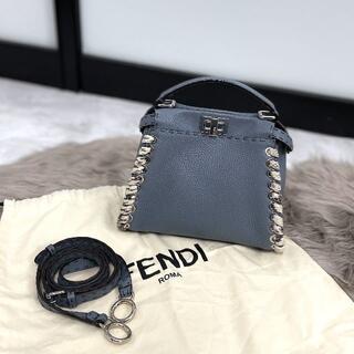 フェンディ(FENDI)の極美品 FENDI フェンディ ミニピーカブー セレリア 水色(ハンドバッグ)