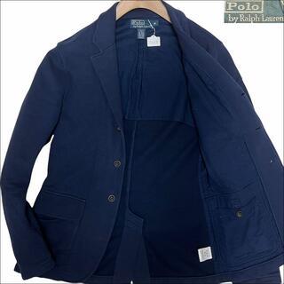 ポロラルフローレン(POLO RALPH LAUREN)のJ6068美品 ポロラルフローレン 胸刺繍 スウェット テーラードジャケット紺M(テーラードジャケット)