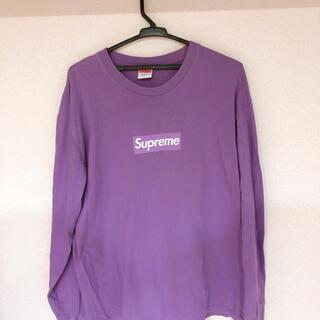 Supreme - supreme 紫 ロンT ボックスロゴ