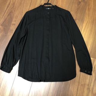 UNIQLO - ユニクロ バンドカラーシャツ ブラック Lサイズ