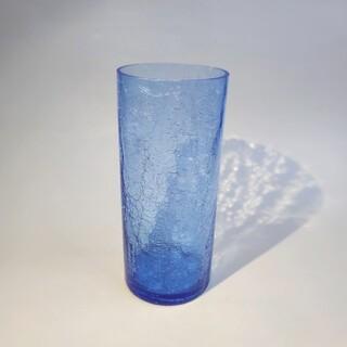 【ヴィンテージ】美品青いヒビ加工ガラス花瓶 キラキラ ブルー 琉球ガラス 一点物