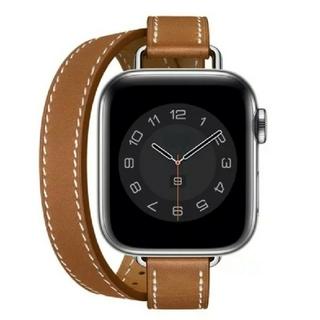 Apple Watch レザー 二重巻スリム 38/40mm ブラウン