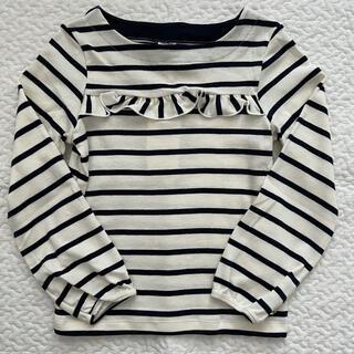 プチバトー(PETIT BATEAU)の【新品未使用】プチバトー フリル付きマリニエール長袖カットソー 6ans(Tシャツ/カットソー)