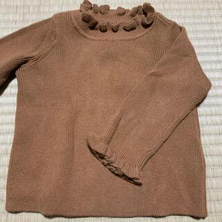 ベビーギャップ(babyGAP)のGAP 茶色 ブラウン ハイネック フリル ニット 70から80cm 女の子(ニット/セーター)