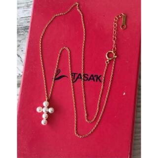 タサキ(TASAKI)の田崎タサキパールネックレス クロス 十字架 アコヤ真珠 K18(ネックレス)