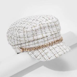 【即発送】キャスケット 帽子 ツイード ホワイト ゴールド 量産型