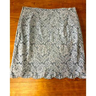 グリーンレーベルリラクシング(green label relaxing)のサックスブルーのレーススカート(ひざ丈スカート)