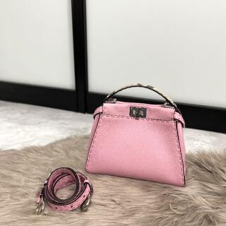 フェンディ(FENDI)の極美品 FENDI フェンディ ミニピーカブー セレリア ピンク (ハンドバッグ)