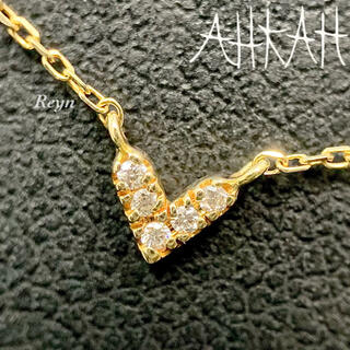 AHKAH - [新品仕上済] AHKAH ハート k18YG ダイヤモンド ネックレス