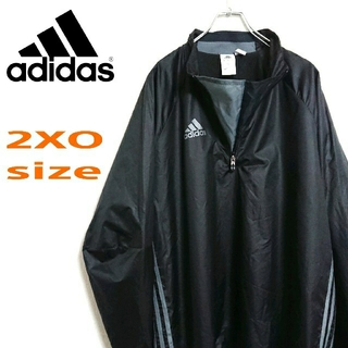 アディダス(adidas)のadidas アディダス 黒 ビッグサイズ  ナイロンジャケット プルオーバー(ナイロンジャケット)