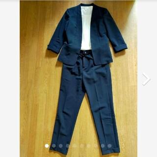 スーツカンパニー(THE SUIT COMPANY)のTHE SUIT COMPANY ノーカラー パンツスーツ36(7) ネイビー紺(スーツ)